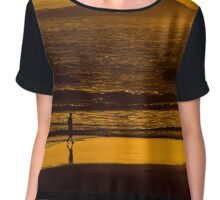 Strolling Harris Beach At Sunset - Oregon Chiffon Top