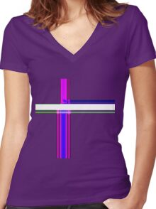 Tube Colors #6.12 No Background Women's Fitted V-Neck T-Shirt