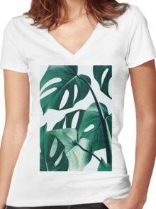 Monstera #redbubble #artprints Women's Fitted V-Neck T-Shirt