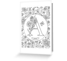 A is for Aster Black & White Greeting Card