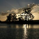 murray river setting sun rays by another-paul