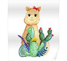 Cute Alpaca Cactus Llama Poster