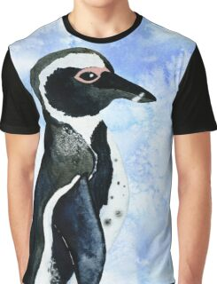 African Penguin Watercolor Arctic Ice Blue Winter Graphic T-Shirt