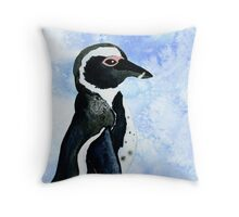 African Penguin Watercolor Arctic Ice Blue Winter Throw Pillow