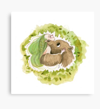Woodland Elf and her Bear Canvas Print