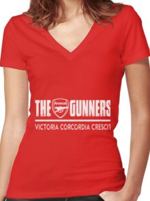 The Gunners - Arsenal - Victoria Corcordia Crescit Women's Fitted V-Neck T-Shirt