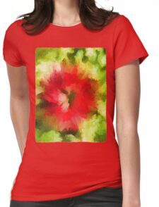 Red Christmas Flower Womens Fitted T-Shirt