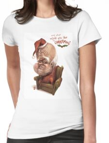 """Santa - """"And what would you like for Christmas?"""" Womens Fitted T-Shirt"""