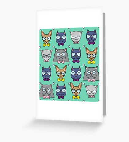 Nerdy Cats Greeting Card