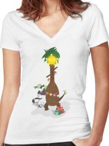 Alolan Christmas - Pokemon SUN and MOON Shirt Design Women's Fitted V-Neck T-Shirt