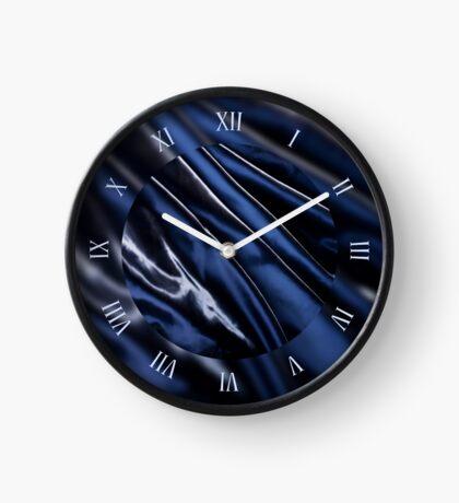 Navy blue glossy crumpled satin Clock