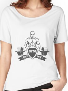 Gym emblem with training bodybuilder Women's Relaxed Fit T-Shirt