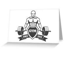 Gym emblem with training bodybuilder Greeting Card