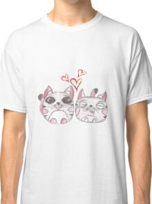 Cute love kittens. Illustration of colorful pencils. Classic T-Shirt