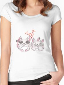 Cute love kittens. Illustration of colorful pencils. Women's Fitted Scoop T-Shirt