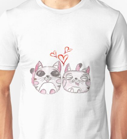 Cute love kittens. Illustration of colorful pencils. Unisex T-Shirt