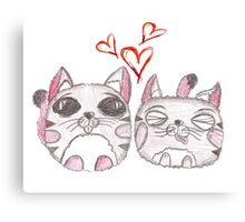 Cute love kittens. Illustration of colorful pencils. Canvas Print