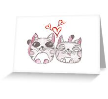 Cute love kittens. Illustration of colorful pencils. Greeting Card