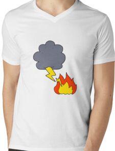 cartoon lightning strike Mens V-Neck T-Shirt