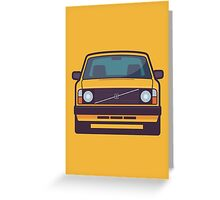 Volvo 240 (Yellow) Greeting Card