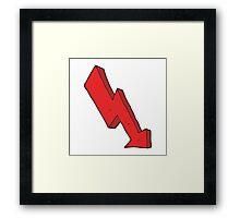 cartoon arrow down trend Framed Print