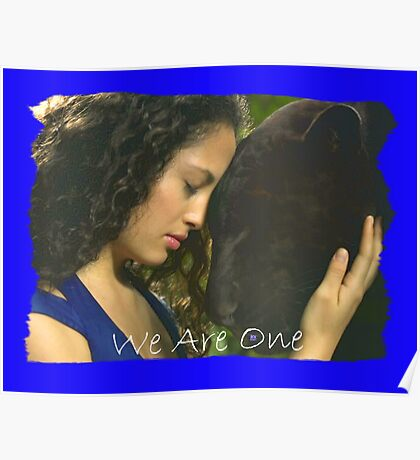 WE ARE ONE (Lady Befriending a Black Leopard) Poster