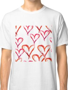 Hand drawn watercolor seamless pattern. Red hearts. Classic T-Shirt