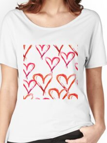 Hand drawn watercolor seamless pattern. Red hearts. Women's Relaxed Fit T-Shirt
