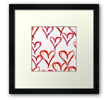 Hand drawn watercolor seamless pattern. Red hearts. Framed Print