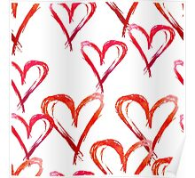 Hand drawn watercolor seamless pattern. Red hearts. Poster