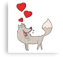cartoon wolf in love Canvas Print
