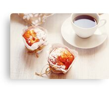 Sweet Fresh Baked Muffins with Cup of Coffee Canvas Print