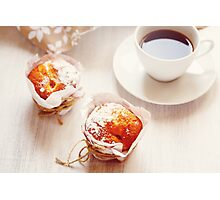 Sweet Fresh Baked Muffins with Cup of Coffee Photographic Print