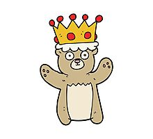 cartoon teddy bear wearing crown Photographic Print