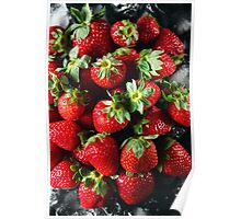 Ripe strawberry on ice Poster