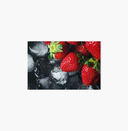 Ripe strawberry on ice Art Board