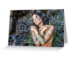 Sexy Tattooed Woman at The Beach Greeting Card