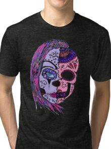 half skull woman in colors Tri-blend T-Shirt