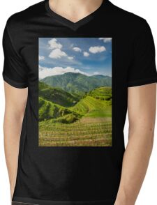 Landscape of rice terraces in china Mens V-Neck T-Shirt