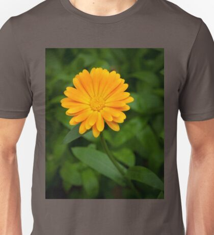 Yellow flower and green leaves Unisex T-Shirt