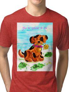 Cute little dog bringing a flower Tri-blend T-Shirt