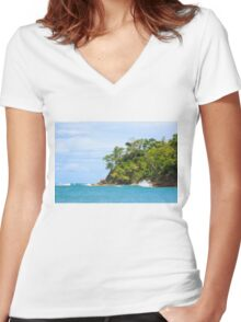 Paradise island Women's Fitted V-Neck T-Shirt
