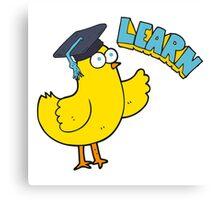cartoon bird with learn text Canvas Print