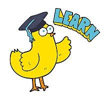 cartoon bird with learn text Photographic Print