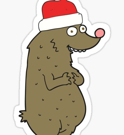 cartoon bear wearing christmas hat Sticker