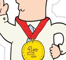 cartoon man with award Sticker