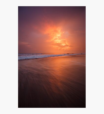 Sunset clouds and long wave Photographic Print