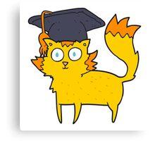 cartoon cat graduate Canvas Print