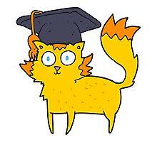 cartoon cat graduate Photographic Print