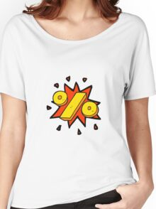 cartoon percentage symbol Women's Relaxed Fit T-Shirt